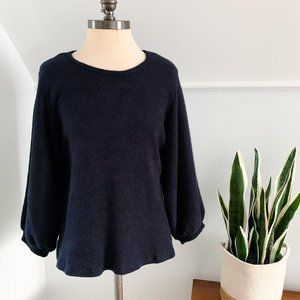 Downeast Balloon Sleeve Pullover Sweater MED Blue